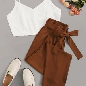 Solid Zip Back Cami top with belted pants